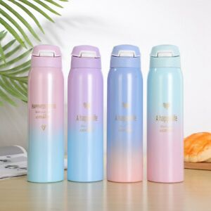 Color with Straw Insulated Travel Tumbler Vacuum Flask Water Bottle Thermos Cup