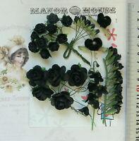 BLACK & GREEN Mix - 24 Paper Roses & Velvet Flowers - 7 Styles 5-33mm across VD5