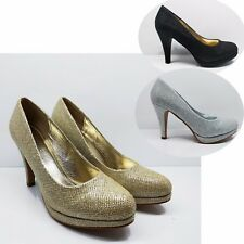 WOMENS LADIES STILETTO HIGH HEELS PLATFORM COURT SHOES PARTY WEDDING BRIDAL SIZE