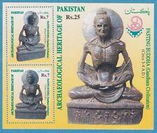 FASTING BUDDHA STAMP SHEET ARCHAEOLOGICAL HERITAGE OF PAKISTAN 1999 GANDHARA NEW
