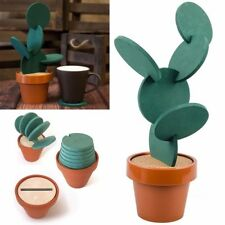 5Pcs Cactus Coasters Cup Holder Beverage Mats Pads With Plastic Flower Pot EL