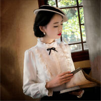 Retro Lolita Women Blouse Victorian Gothic Lace Pleated Solid Bow Shirt Tops HOT
