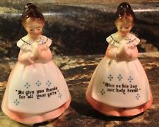 VINTAGE ENESCO PINK MOTHER IN THE KITCHEN PRAYER LADY SALT & PEPPER SHAKER SET