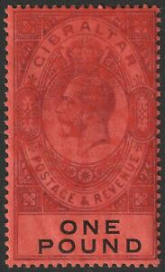 Gibraltar 1912 KGV £1 Dull Purple and Black on Red Mint SG85 cat £140 blotchy
