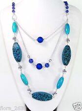HAUTE QUALITÉ Sautoir, Collier galet, perle bleue, argenté Bijoux fantaisie neuf