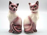 Vintage Siamese Cats Salt & Pepper Shakers Amethyst Cream with Green Eyes Japan