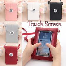 US Women Retro Buckle PU Touch Screen Convenient Crossbody Mobile Phone Bag