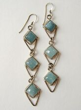 Aquamarine 3 Layer Earrings Sterling Silver Blue Handmade Pierced Unique Gift