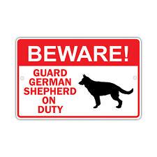 Beware! Guard German Shepherd Dog On Duty Owner Novelty Aluminum 8x12 Metal Sign