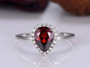 2Ct Pear Cut Ruby Simulant Diamond Halo Engagement Ring White Gold Finish Silver