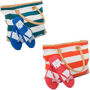 Beach Bag Womens PLUS Flip Flops 2 PCE Set Striped Canvas Tote Summer Bags