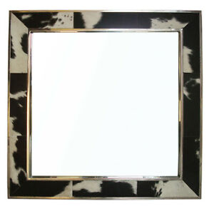 Beautiful Black and White Hairy Leather Mirror With elegent Look