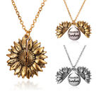 You Are My Sunshine Open Locket Sunflower Pendant Necklace Women Silver Gold