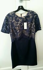 Lover the label navy lace dress size 14 liberty fitted dress new