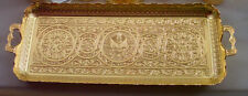TURKISH ZAMAK TRAY VINTAGE,SHINY GOLD COLOR, RECTANGLE,Ottoman Figures
