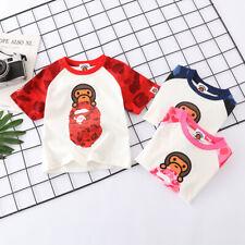 Fashion Kids Boy Girl Baby Milo Stand Monkey Head Bape Summer T-Shirt Tee Top
