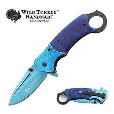 Wild Turkey Handmade Two Tone Karambit Style Spring Assisted Folding Knife