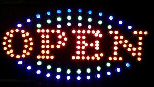SHOP FRONT 240V 220V LED OPEN SIGN BOARD FLASHING BULBS LIGHTS +HANGING CHAIN