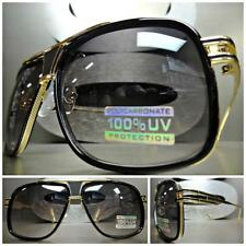 Men's or Women CLASSIC VINTAGE RETRO Style SUN GLASSES SHADES Gold & Black Frame