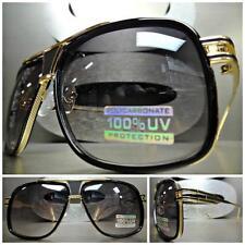 CLASSIC VINTAGE RETRO Style SUN GLASSES SHADES Gold Black Frame Light Tint Lens