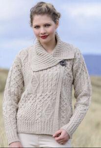 Aran Sweater Market Ireland Crafts Side Button Cardigan Sz L NWT