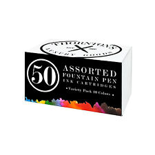 Thornton's Short Standard Fountain Pen Ink Cartridges, Assorted Ink, Pack of 50