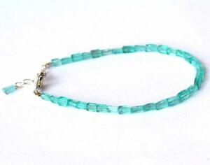 """6.5 - 7.5"""" BRACELET NATURAL APATITE  BEADS CUBE SOLID 925 SILVER  #D348"""