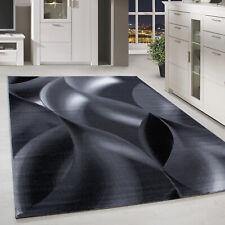 Kurzflor Teppich Schattenmuster Wohnzimmerteppich Hellgrau Schwarz Meliert
