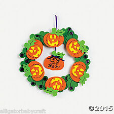 Christian Religious Halloween Jack-O-Lantern Wreath Craft Kit Kids 11