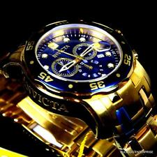 Invicta Pro Diver Scuba 18kt Gold Plated Chronograph Blue Swiss Parts Watch New