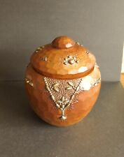 More details for stunning carved wood and brass decorated honey pot c.1930