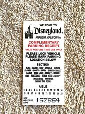 1992 (9206) Disneyland Complimentary Parking Ticket No Cancellation Date Stamp!