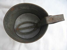 Antique primitive Unusual Handle Flour Sifter Patent Applied For 2 Cup metal tin