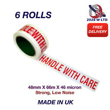 Handle with Care Parcel Packing Tape 48mm*66m*46mic, Strong, Low Noise (6 Rolls)