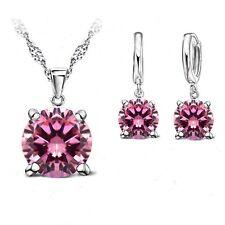 925 Sterling Silver Pink Cubic Zirconia Jewellery Set. Necklace + Drop Earrings