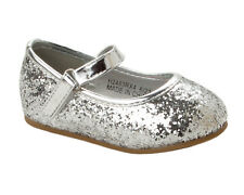 GIRLS SILVER GLITTER BRIDESMAID WEDDING EVENING PARTY PUMPS SHOES UK SIZE 4-10