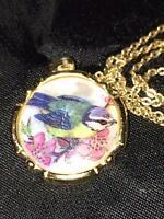 Vtg Blue Bird Portrait Necklace Mother of Pearl Pendant  Chain Gold GT
