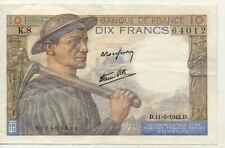 BILLET BANQUE 10 Frs MINEUR 11-06-1942 D K.8 TTB