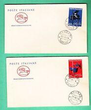 ITALIASU 2  BUSTE PREMIO ITALIA  POSTE CAVALLINO F.D.C. 1958 ANNULLO SASSARI FDC