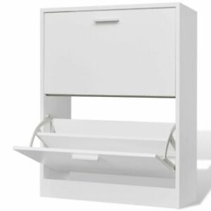 vidaXL Wooden Shoe Cabinet with 2 Compartments White Storage Rack Organiser