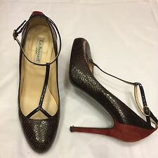 LK Bennett T-Strap Imitación Cocodrilo Marrón Rojo Ante Tacones Tribunal Zapatos 39/UK 6
