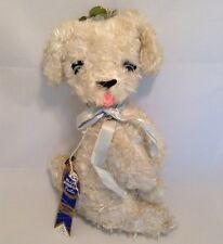 Vintage Krueger Plush White Musical Dog Rare Sitting Up Stuffed Animal Toy