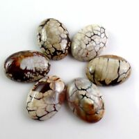 6pcs 25x18x6mm Beautiful Oval Brown  Dragon Veins Agate CAB CABOCHON FF-cabz8