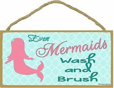 "Even Mermaids Wash and Brush Childrens Bathroom Sign Plaque 5""x10"""