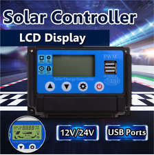Solar Panel 50A 12V 24V Auto Charge Controller Battery Adapter LCD USB Inverter