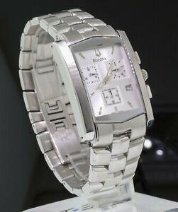 Bulova A3 Chronograph Date Stainless Steel Silver Dial 29mm Mens Quartz Watch