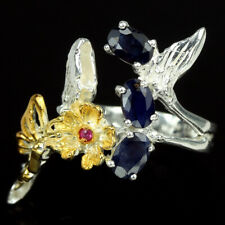 GENUINE BLUE SAPPHIRE & PINK RED RUBY STERLING 925SILVER BUTTERFLY RING SIZE 7.5