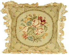 "18"" x 18"" Handmade Wool Needlepoint Petit Point Aubusson Design Pillow"
