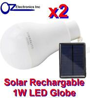 2xCamping Solar Rechargeable 1W LED Bulb and Solar Panel BRAND NEW free shipping