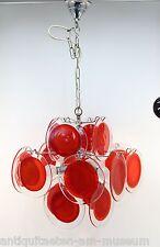 Vistosi, Mazzega, Kalmar Deckenlampe Rot Popart 60th, 16 Glasscheiben - 14302 -